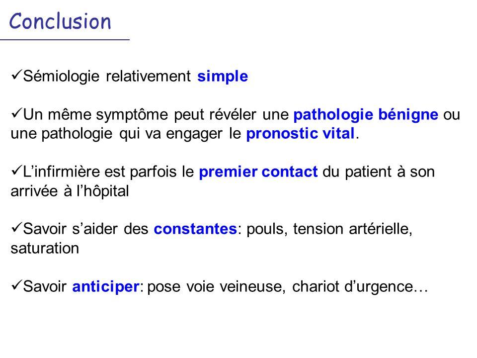 Conclusion Sémiologie relativement simple Un même symptôme peut révéler une pathologie bénigne ou une pathologie qui va engager le pronostic vital. Li