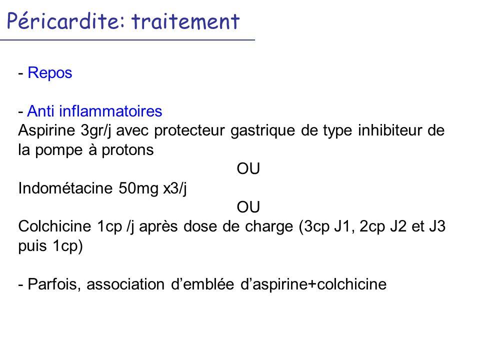 Péricardite: traitement - Repos - Anti inflammatoires Aspirine 3gr/j avec protecteur gastrique de type inhibiteur de la pompe à protons OU Indométacine 50mg x3/j OU Colchicine 1cp /j après dose de charge (3cp J1, 2cp J2 et J3 puis 1cp) - Parfois, association demblée daspirine+colchicine