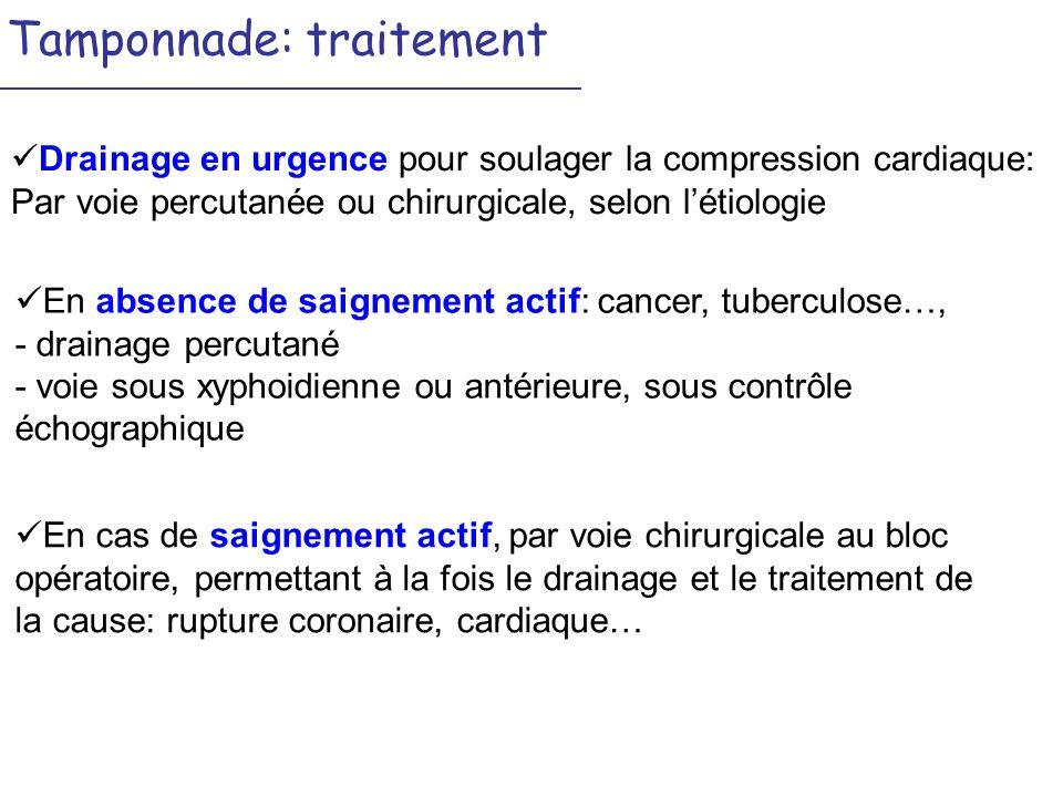 Tamponnade: traitement Drainage en urgence pour soulager la compression cardiaque: Par voie percutanée ou chirurgicale, selon létiologie En cas de sai