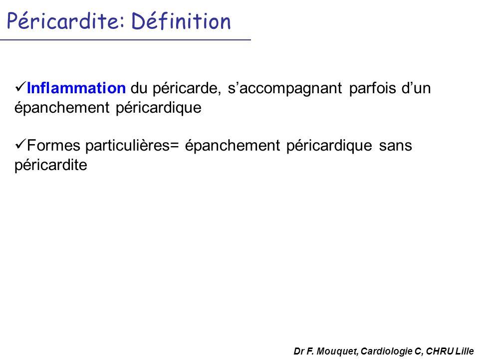 Dr F. Mouquet, Cardiologie C, CHRU Lille Péricardite: Définition Inflammation du péricarde, saccompagnant parfois dun épanchement péricardique Formes