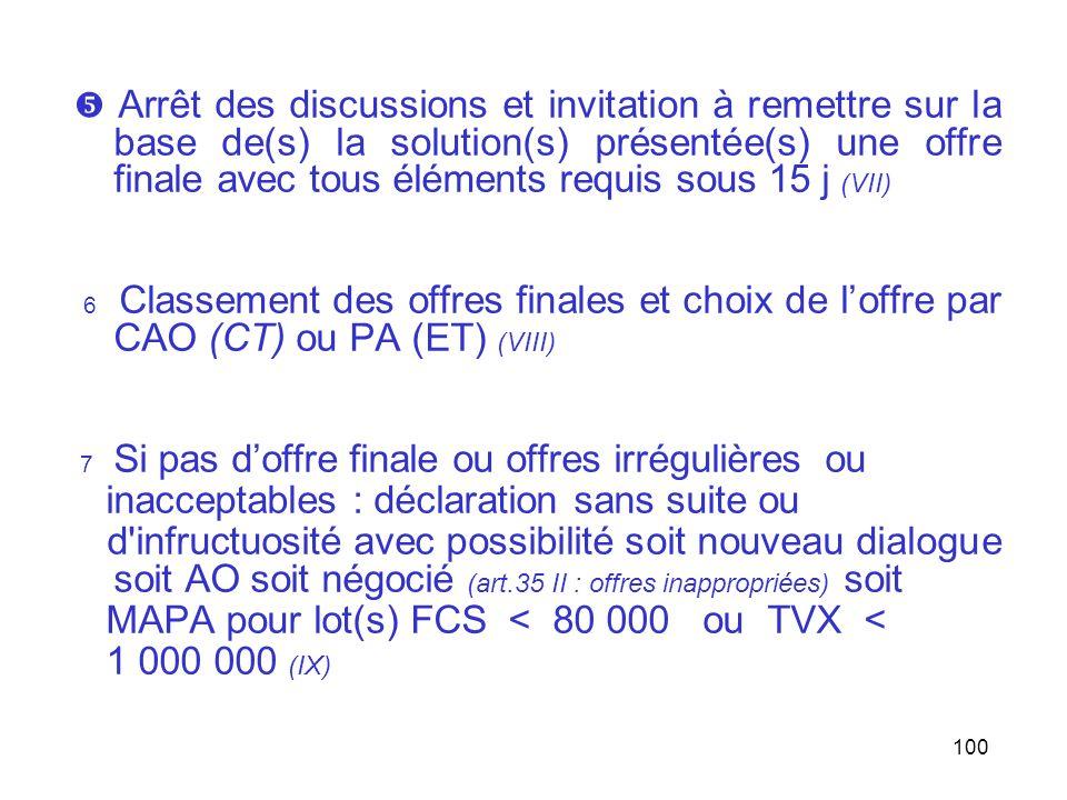 100 Arrêt des discussions et invitation à remettre sur la base de(s) la solution(s) présentée(s) une offre finale avec tous éléments requis sous 15 j