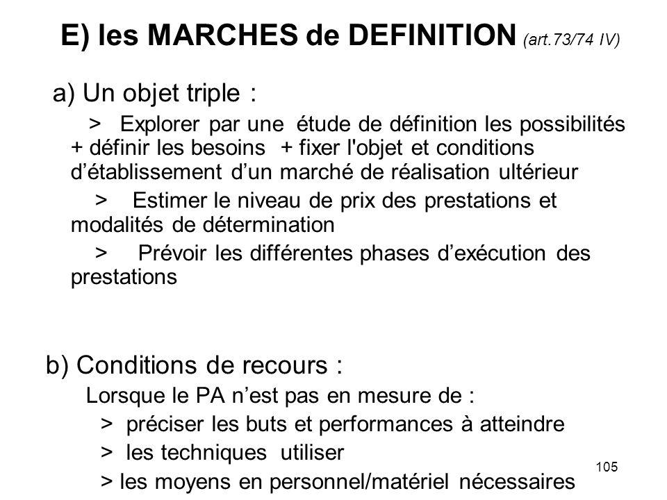 105 E) les MARCHES de DEFINITION (art.73/74 IV) a) Un objet triple : > Explorer par une étude de définition les possibilités + définir les besoins + f
