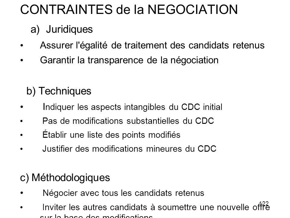 122 CONTRAINTES de la NEGOCIATION a) Juridiques Assurer l'égalité de traitement des candidats retenus Garantir la transparence de la négociation b) Te