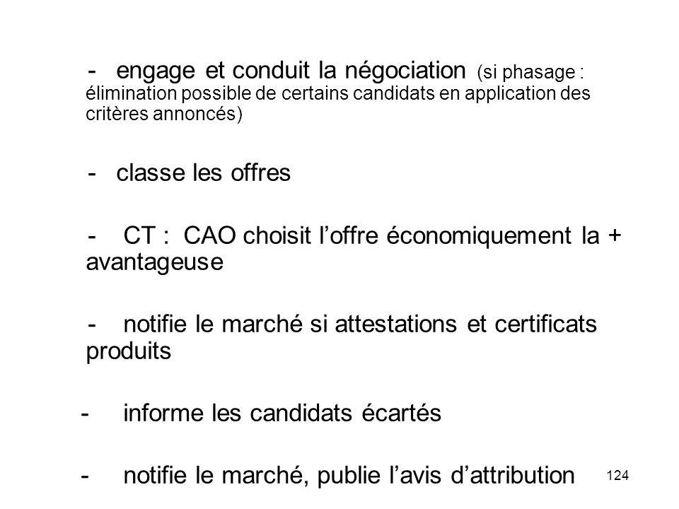124 - engage et conduit la négociation (si phasage : élimination possible de certains candidats en application des critères annoncés) - classe les off