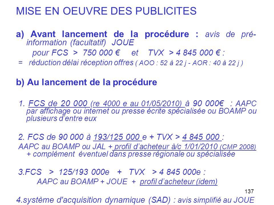 137 MISE EN OEUVRE DES PUBLICITES a) Avant lancement de la procédure : avis de pré- information (facultatif) JOUE pour FCS > 750 000 et TVX > 4 845 00