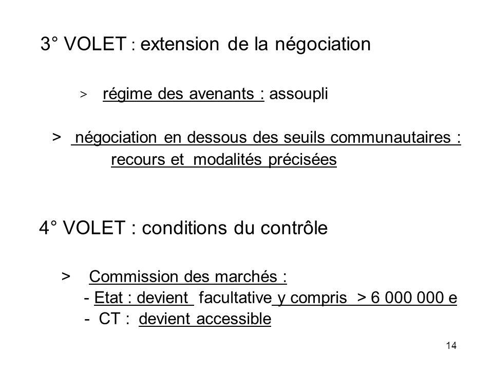 14 3° VOLET : extension de la négociation > régime des avenants : assoupli > négociation en dessous des seuils communautaires : recours et modalités p