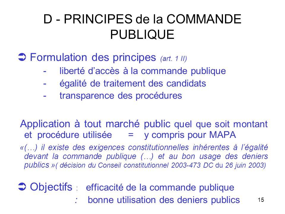 15 D - PRINCIPES de la COMMANDE PUBLIQUE Formulation des principes (art. 1 II) - liberté daccès à la commande publique - égalité de traitement des can