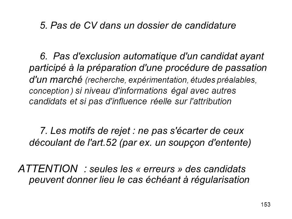 153 5. Pas de CV dans un dossier de candidature 6. Pas d'exclusion automatique d'un candidat ayant participé à la préparation d'une procédure de passa