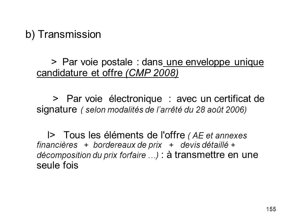 155 b) Transmission > Par voie postale : dans une enveloppe unique candidature et offre (CMP 2008) > Par voie électronique : avec un certificat de sig