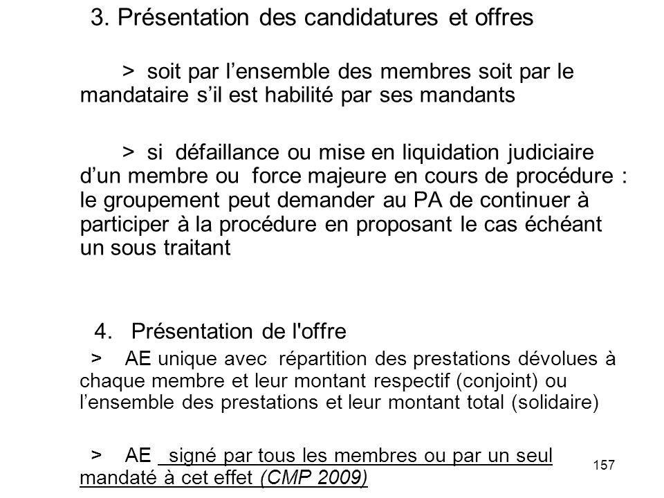 157 3. Présentation des candidatures et offres > soit par lensemble des membres soit par le mandataire sil est habilité par ses mandants > si défailla