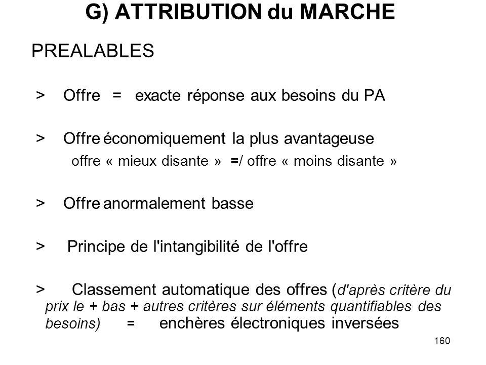 160 G) ATTRIBUTION du MARCHE PREALABLES > Offre = exacte réponse aux besoins du PA > Offre économiquement la plus avantageuse offre « mieux disante »