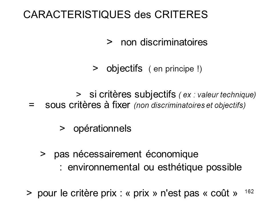 162 CARACTERISTIQUES des CRITERES > non discriminatoires > objectifs ( en principe !) > si critères subjectifs ( ex : valeur technique) = sous critère