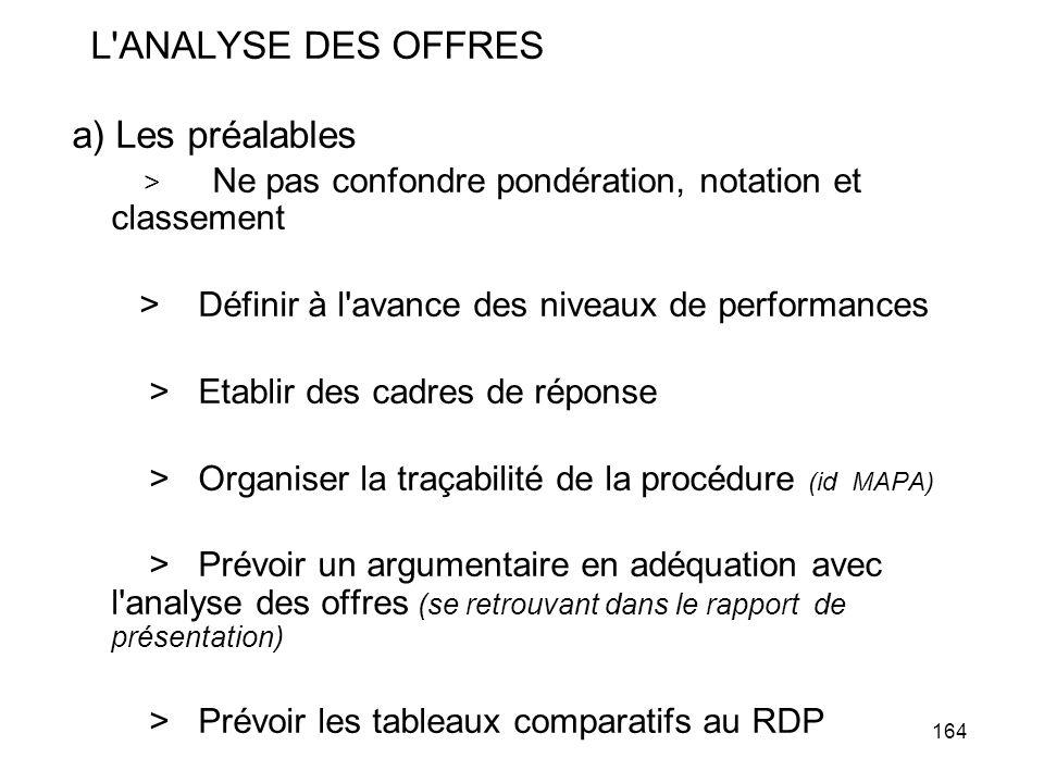 164 L'ANALYSE DES OFFRES a) Les préalables > Ne pas confondre pondération, notation et classement > Définir à l'avance des niveaux de performances > E