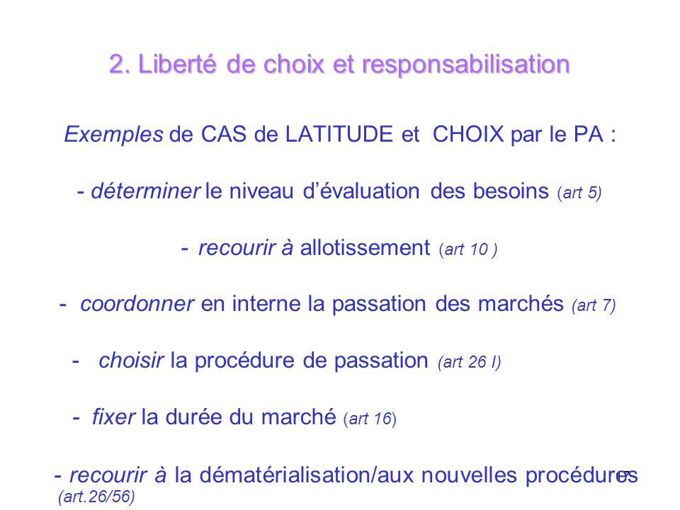 17 2. Liberté de choix et responsabilisation Exemples de CAS de LATITUDE et CHOIX par le PA : - déterminer le niveau dévaluation des besoins (art 5) -