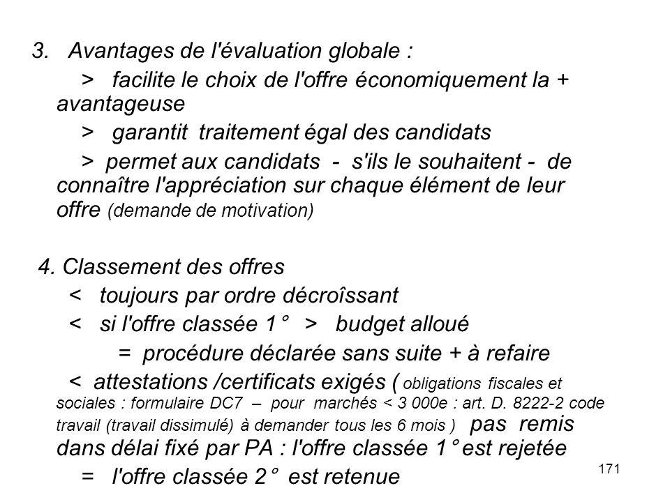 171 3. Avantages de l'évaluation globale : > facilite le choix de l'offre économiquement la + avantageuse > garantit traitement égal des candidats > p