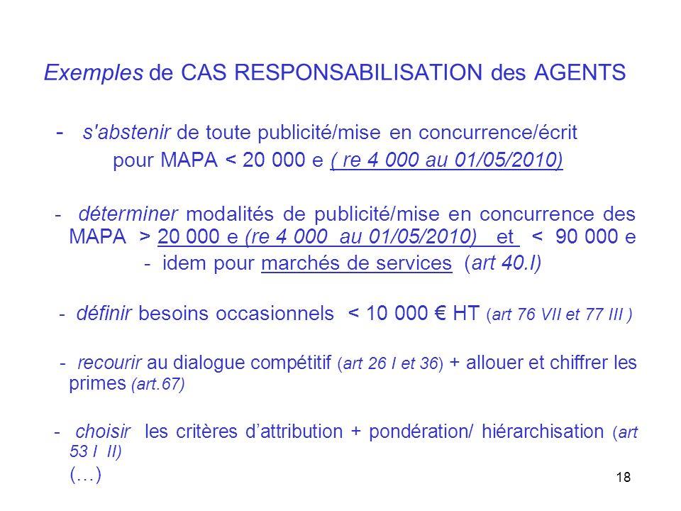 18 Exemples de CAS RESPONSABILISATION des AGENTS - s'abstenir de toute publicité/mise en concurrence/écrit pour MAPA < 20 000 e ( re 4 000 au 01/05/20