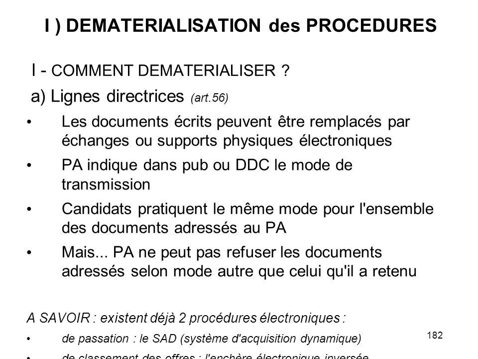 182 I ) DEMATERIALISATION des PROCEDURES I - COMMENT DEMATERIALISER ? a) Lignes directrices (art.56) Les documents écrits peuvent être remplacés par é