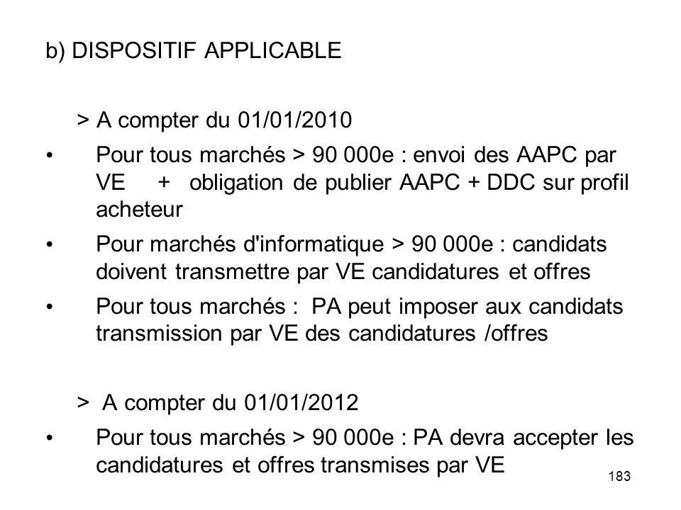 183 b) DISPOSITIF APPLICABLE > A compter du 01/01/2010 Pour tous marchés > 90 000e : envoi des AAPC par VE + obligation de publier AAPC + DDC sur prof