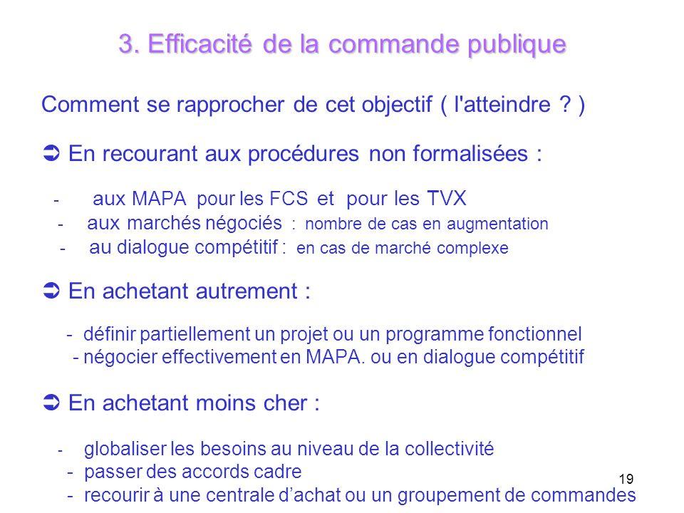 19 3. Efficacité de la commande publique Comment se rapprocher de cet objectif ( l'atteindre ? ) En recourant aux procédures non formalisées : - aux M