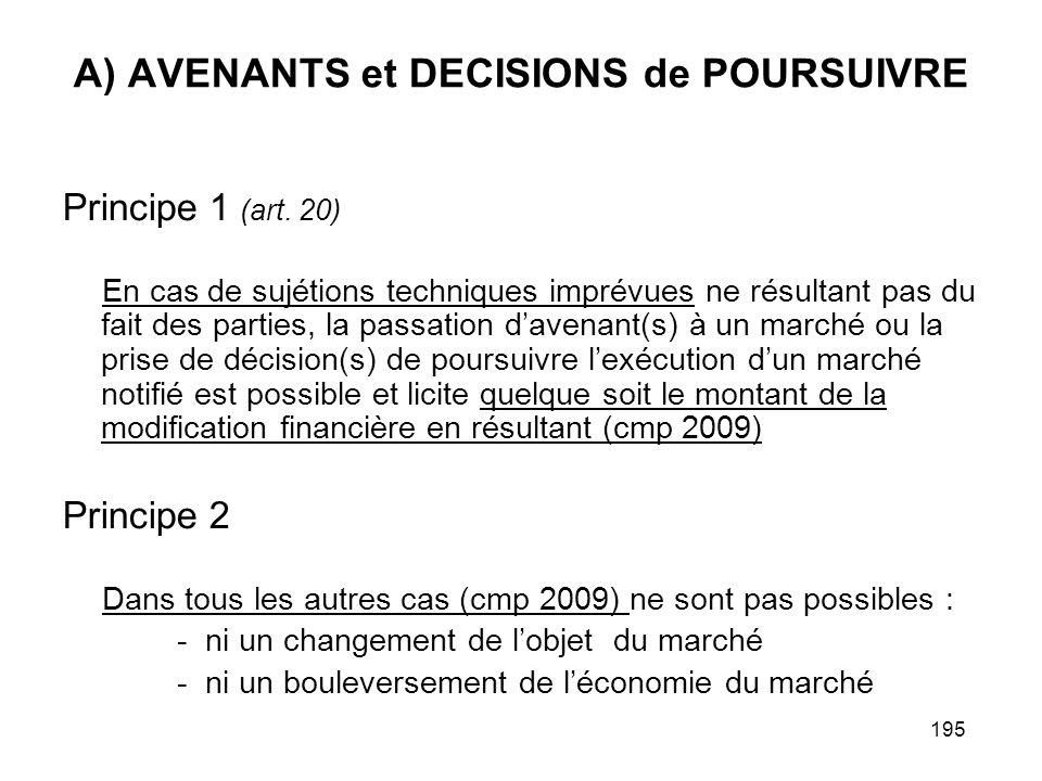195 A) AVENANTS et DECISIONS de POURSUIVRE Principe 1 (art. 20) En cas de sujétions techniques imprévues ne résultant pas du fait des parties, la pass
