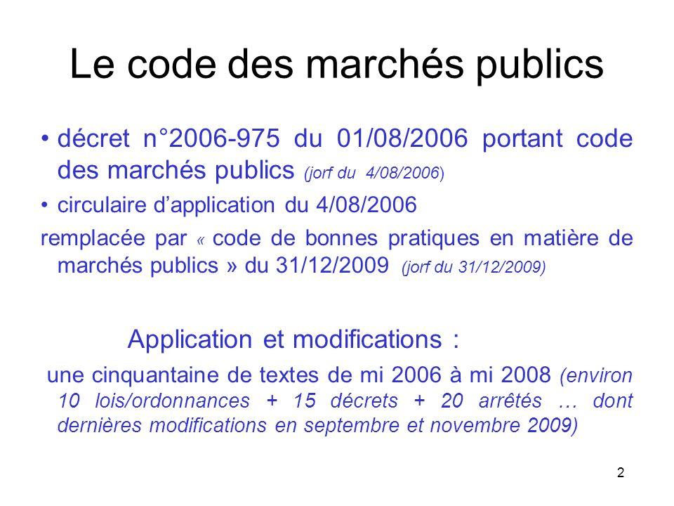 2 Le code des marchés publics décret n°2006-975 du 01/08/2006 portant code des marchés publics (jorf du 4/08/2006) circulaire dapplication du 4/08/200
