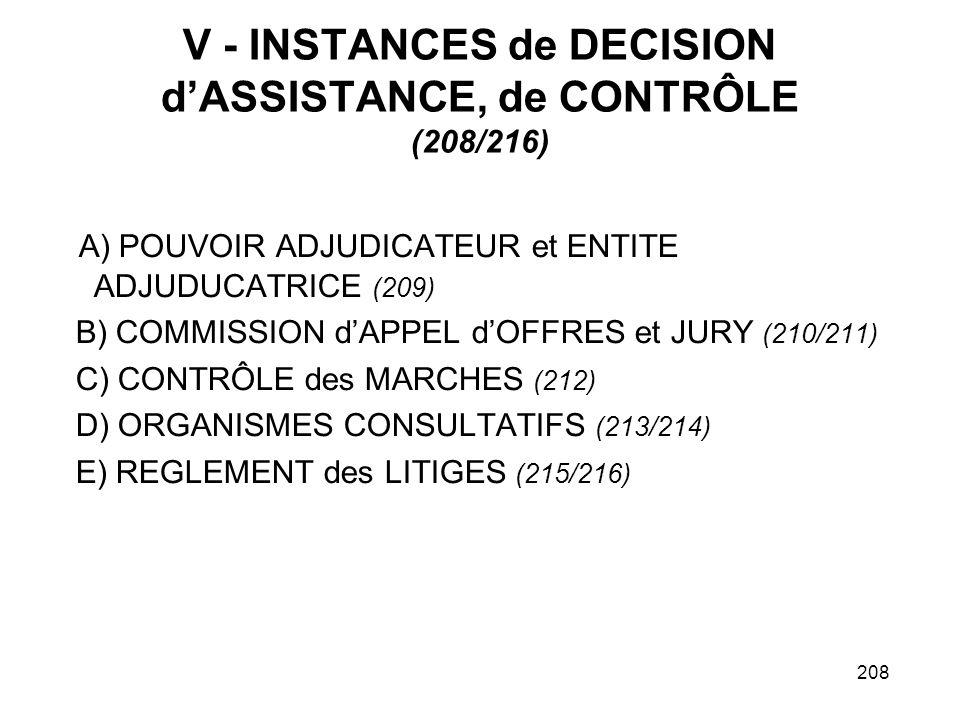 208 V - INSTANCES de DECISION dASSISTANCE, de CONTRÔLE (208/216) A) POUVOIR ADJUDICATEUR et ENTITE ADJUDUCATRICE (209) B) COMMISSION dAPPEL dOFFRES et