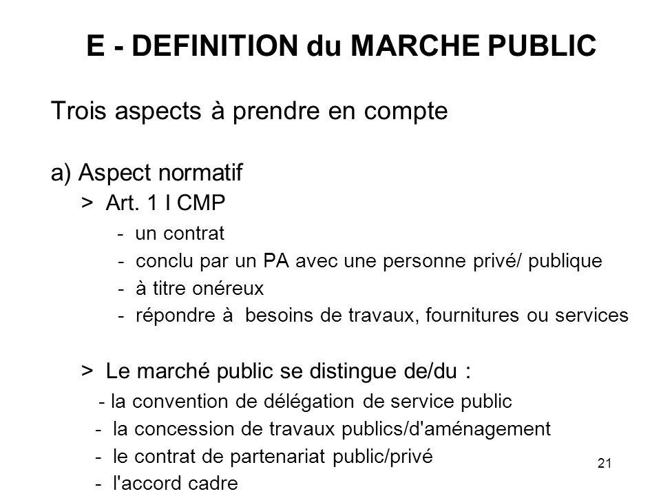 21 E - DEFINITION du MARCHE PUBLIC Trois aspects à prendre en compte a) Aspect normatif > Art. 1 I CMP - un contrat - conclu par un PA avec une person