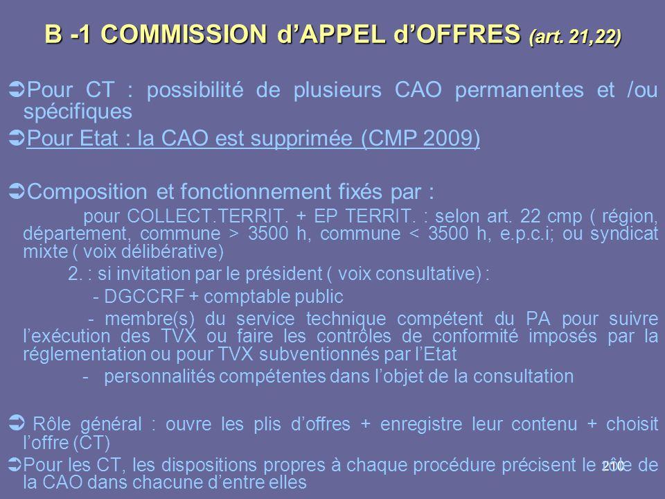 210 B -1 COMMISSION dAPPEL dOFFRES (art. 21,22) Pour CT : possibilité de plusieurs CAO permanentes et /ou spécifiques Pour Etat : la CAO est supprimée
