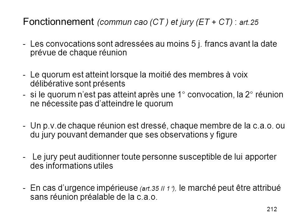 212 Fonctionnement (commun cao (CT ) et jury (ET + CT) : art.25 -Les convocations sont adressées au moins 5 j. francs avant la date prévue de chaque r