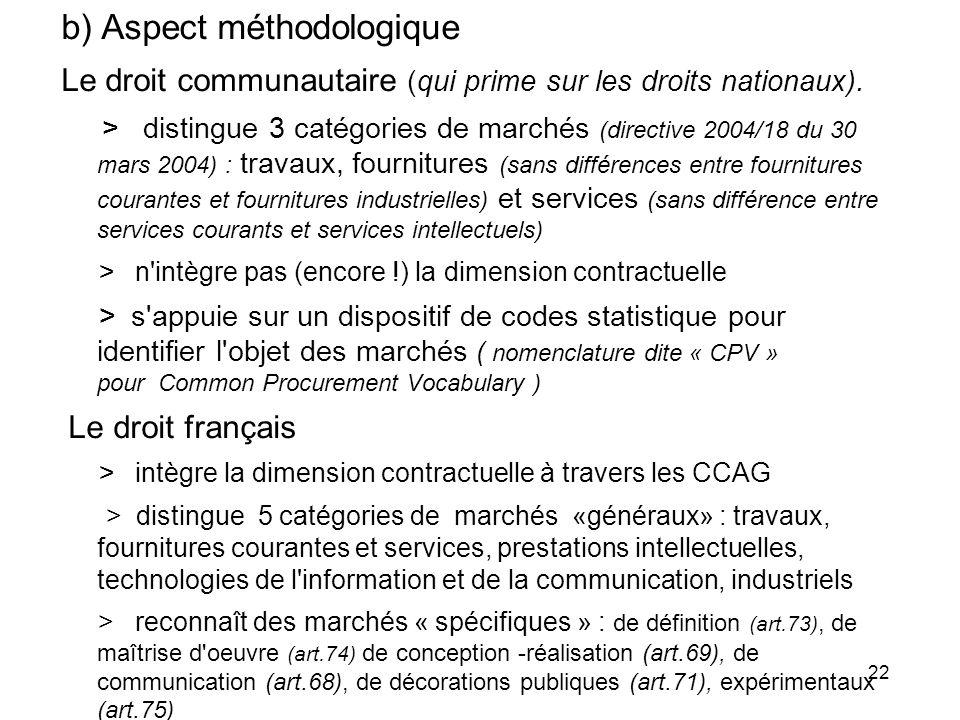 22 b) Aspect méthodologique Le droit communautaire (qui prime sur les droits nationaux). > distingue 3 catégories de marchés (directive 2004/18 du 30