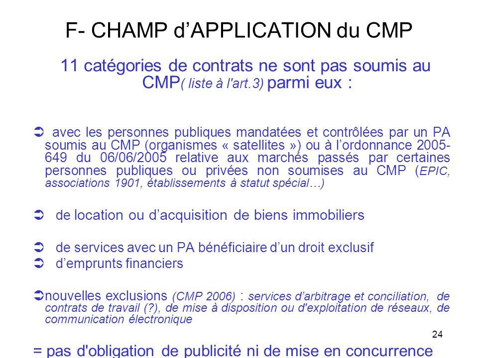 24 F- CHAMP dAPPLICATION du CMP 11 catégories de contrats ne sont pas soumis au CMP ( liste à l'art.3) parmi eux : avec les personnes publiques mandat