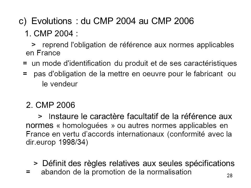 28 c) Evolutions : du CMP 2004 au CMP 2006 1. CMP 2004 : > reprend l'obligation de référence aux normes applicables en France = un mode d'identificati