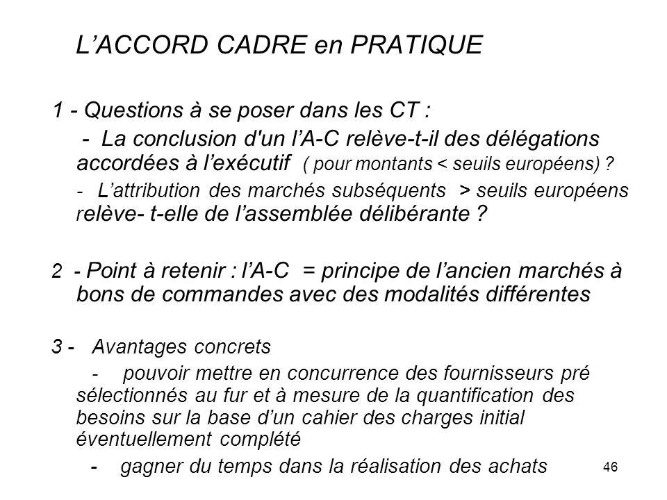 46 LACCORD CADRE en PRATIQUE 1 - Questions à se poser dans les CT : - La conclusion d'un lA-C relève-t-il des délégations accordées à lexécutif ( pour