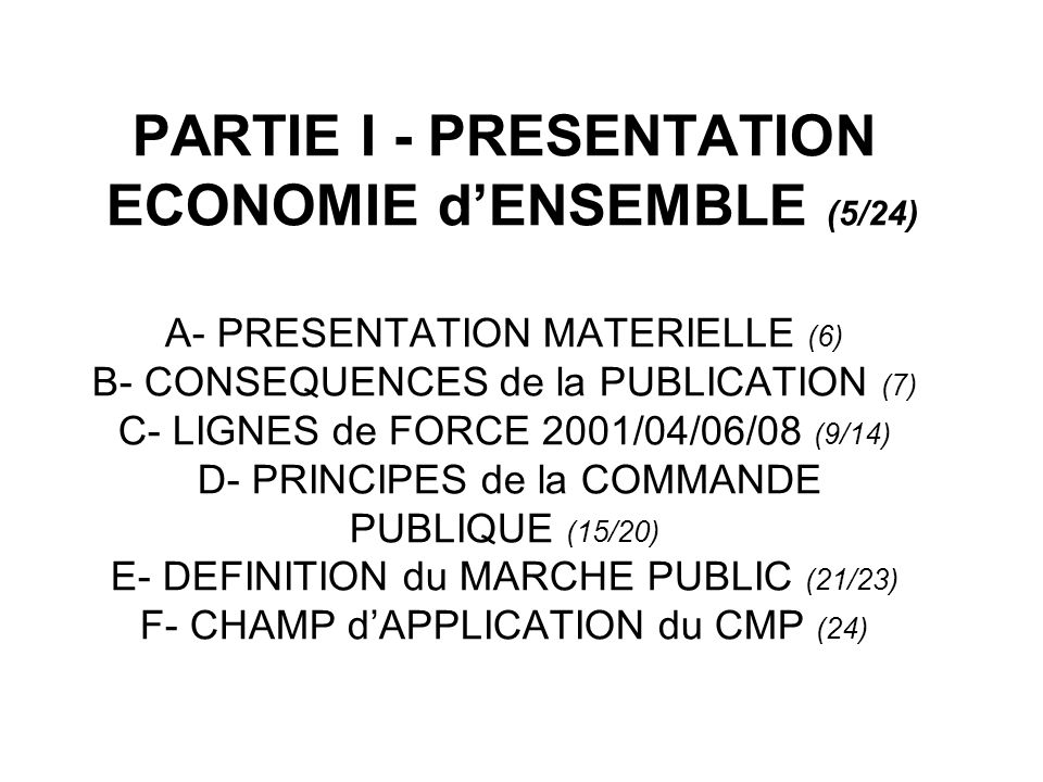 PARTIE I - PRESENTATION ECONOMIE dENSEMBLE (5/24) A- PRESENTATION MATERIELLE (6) B- CONSEQUENCES de la PUBLICATION (7) C- LIGNES de FORCE 2001/04/06/0