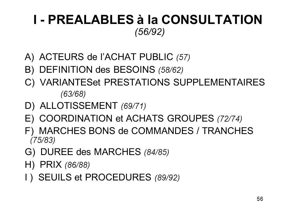 56 I - PREALABLES à la CONSULTATION (56/92) A) ACTEURS de lACHAT PUBLIC (57) B) DEFINITION des BESOINS (58/62) C) VARIANTESet PRESTATIONS SUPPLEMENTAI