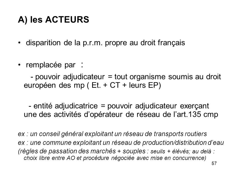 57 A) les ACTEURS disparition de la p.r.m. propre au droit français remplacée par : - pouvoir adjudicateur = tout organisme soumis au droit européen d
