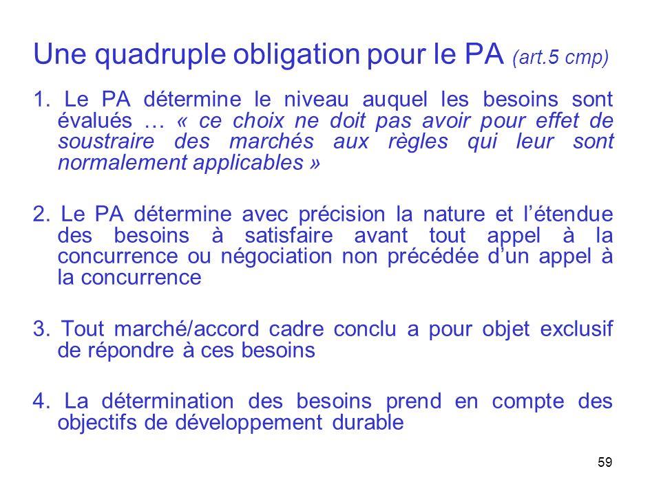 59 Une quadruple obligation pour le PA (art.5 cmp) 1. Le PA détermine le niveau auquel les besoins sont évalués … « ce choix ne doit pas avoir pour ef