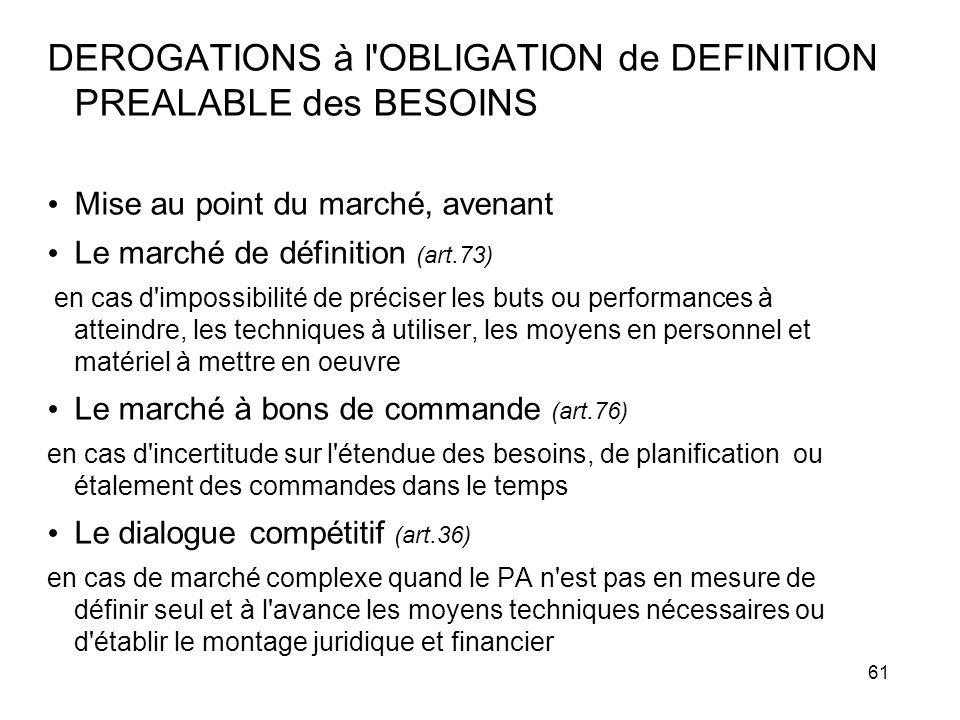 61 DEROGATIONS à l'OBLIGATION de DEFINITION PREALABLE des BESOINS Mise au point du marché, avenant Le marché de définition (art.73) en cas d'impossibi