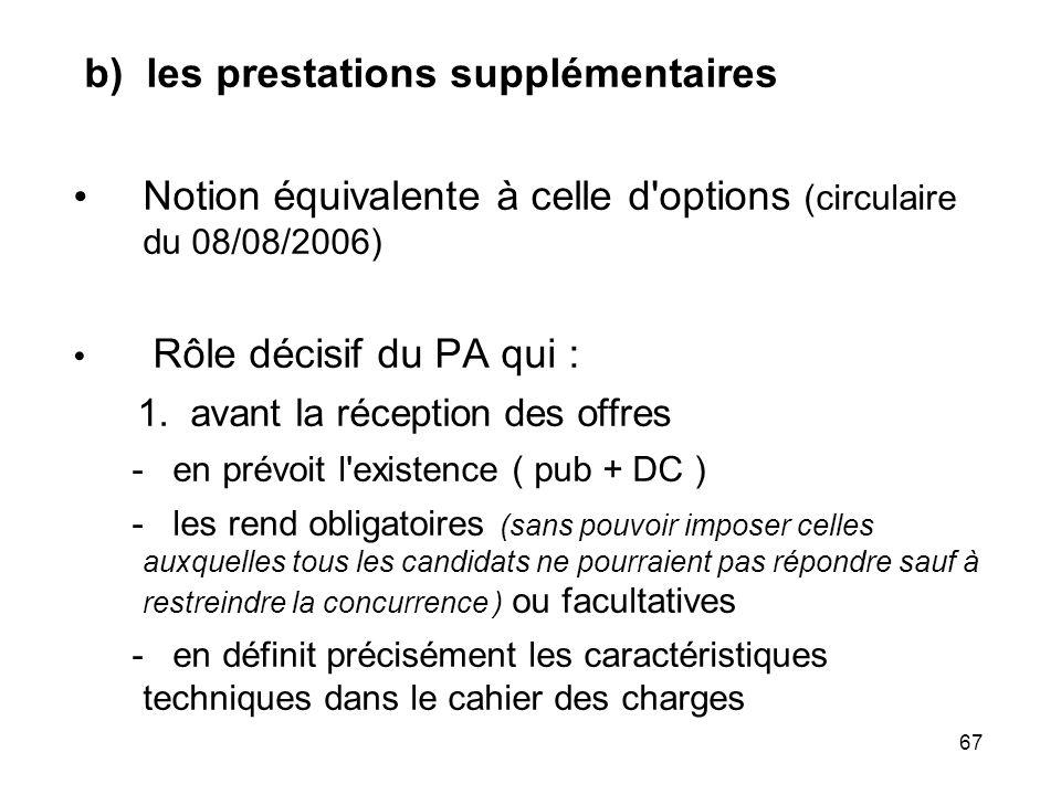 67 b) les prestations supplémentaires Notion équivalente à celle d'options (circulaire du 08/08/2006) Rôle décisif du PA qui : 1. avant la réception d