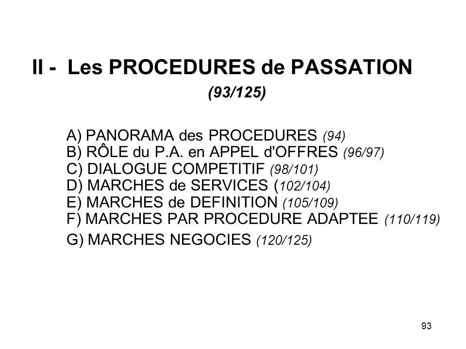 93 II - Les PROCEDURES de PASSATION (93/125) A) PANORAMA des PROCEDURES (94) B) RÔLE du P.A. en APPEL d'OFFRES (96/97) C) DIALOGUE COMPETITIF (98/101)