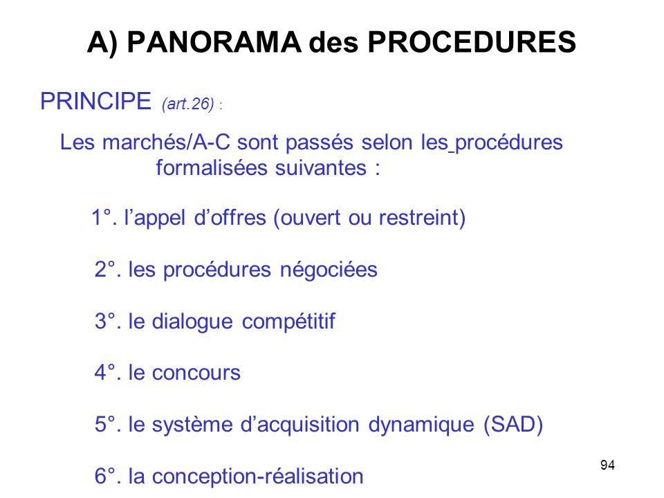 94 A) PANORAMA des PROCEDURES PRINCIPE (art.26) : Les marchés/A-C sont passés selon les procédures formalisées suivantes : 1°. lappel doffres (ouvert