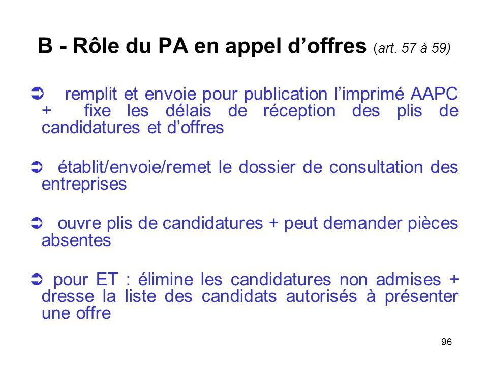 96 B - Rôle du PA en appel doffres (art. 57 à 59) remplit et envoie pour publication limprimé AAPC + fixe les délais de réception des plis de candidat