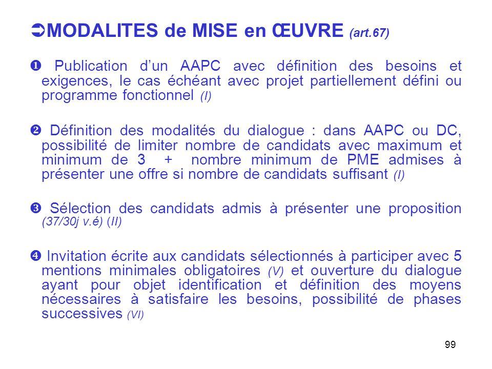 99 MODALITES de MISE en ŒUVRE (art.67) Publication dun AAPC avec définition des besoins et exigences, le cas échéant avec projet partiellement défini