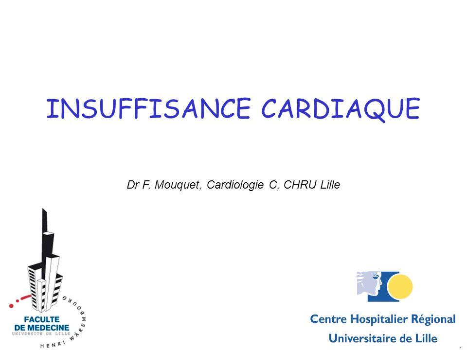 INSUFFISANCE CARDIAQUE Dr F. Mouquet, Cardiologie C, CHRU Lille