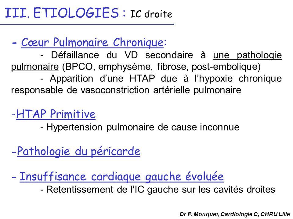 - Cœur Pulmonaire Chronique: - Défaillance du VD secondaire à une pathologie pulmonaire (BPCO, emphysème, fibrose, post-embolique) - Apparition dune H