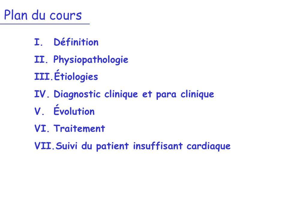 Plan du cours I.Définition II.Physiopathologie III.Étiologies IV.Diagnostic clinique et para clinique V.Évolution VI.Traitement VII.Suivi du patient i