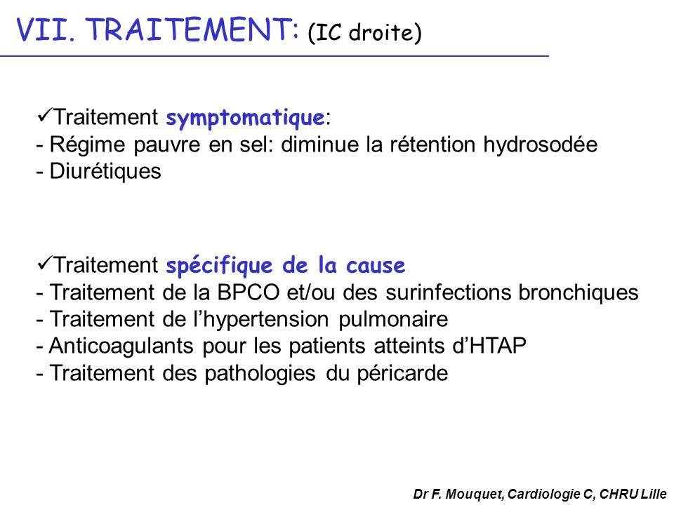 VII. TRAITEMENT: (IC droite) Dr F. Mouquet, Cardiologie C, CHRU Lille Traitement symptomatique : - Régime pauvre en sel: diminue la rétention hydrosod