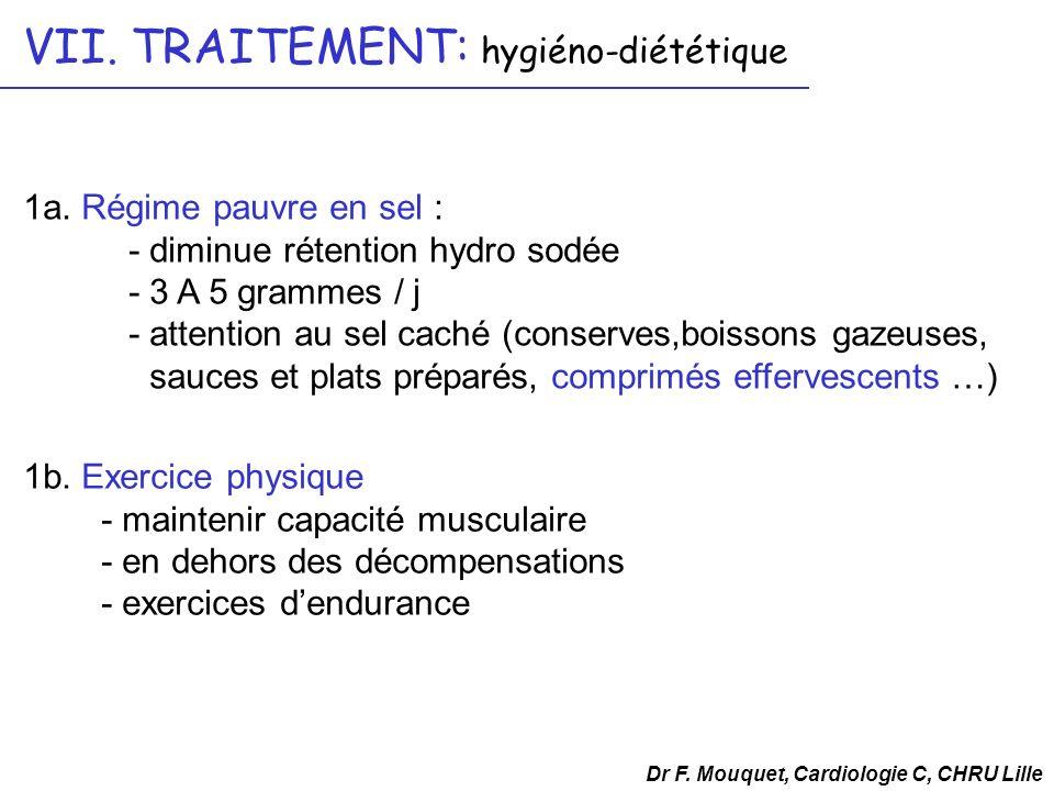 1a. Régime pauvre en sel : - diminue rétention hydro sodée - 3 A 5 grammes / j - attention au sel caché (conserves,boissons gazeuses, sauces et plats