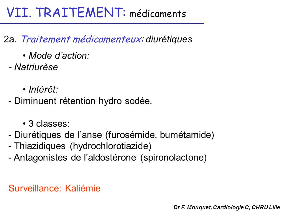 Mode daction: - Natriurèse Intérêt: - Diminuent rétention hydro sodée. 3 classes: - Diurétiques de lanse (furosémide, bumétamide) - Thiazidiques (hydr