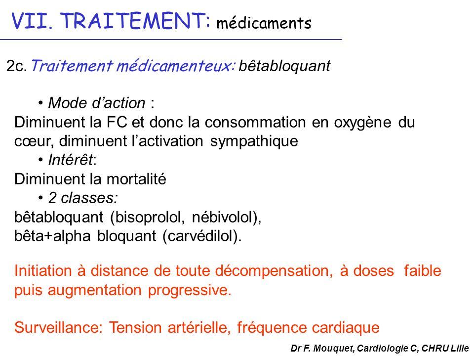 Mode daction : Diminuent la FC et donc la consommation en oxygène du cœur, diminuent lactivation sympathique Intérêt: Diminuent la mortalité 2 classes